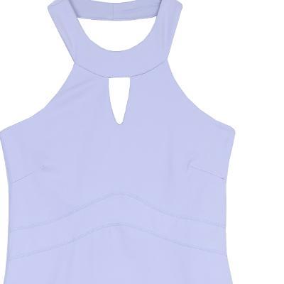 halter neck slim top violet & side cutting line leggings violet